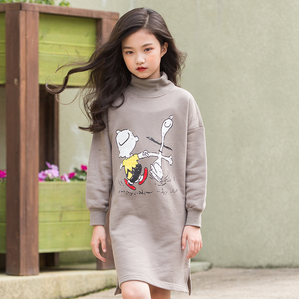 Robe épaisse pour filles automne filles robe Cartoon Print hiver manches longues enfants robes adolescent vêtements 5 6 7 8 9 10 11 12 14 ans