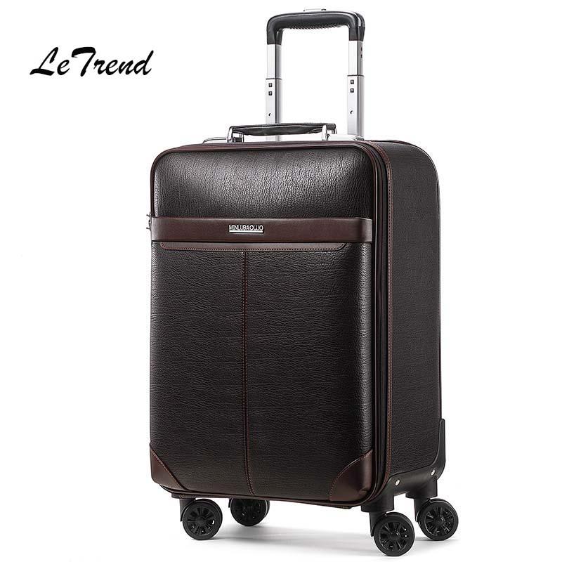 купить Letrend Business Man Rolling Luggage Spinner 16 inch Cabin Trolley PU Leather Trunk Women Suitcases Wheels Travel Bag онлайн