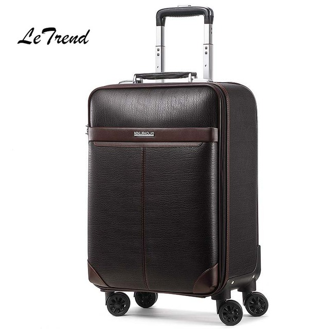 Letrend Business Man Rolling Luggage Spinner 16 inch Cabin Trolley PU Leather Trunk Women Suitcases Wheels Travel Bag