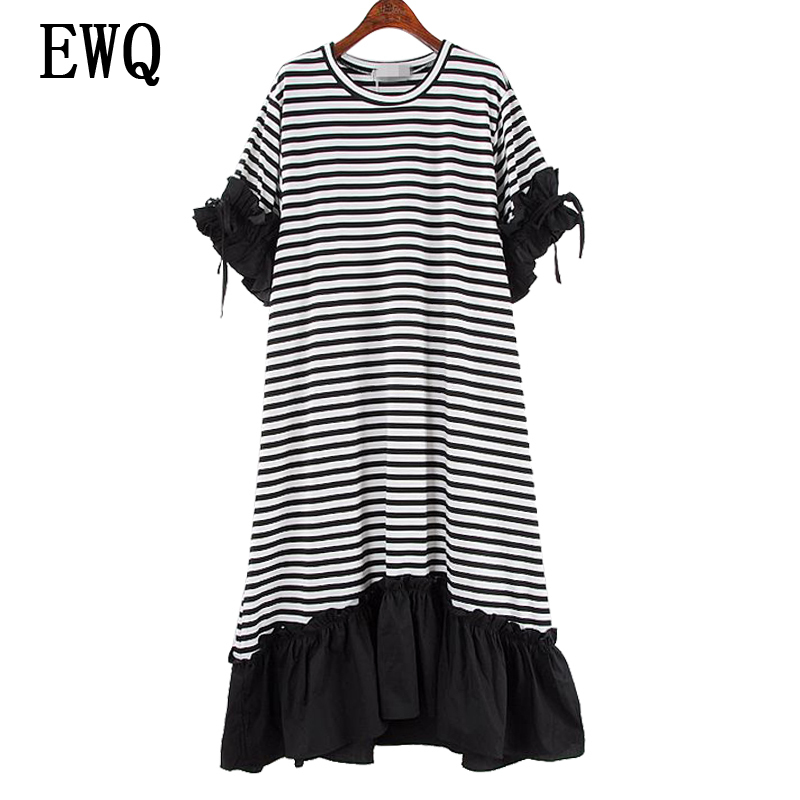 [EWQ] New Summer 2018 Fashion Drawstring round collar short sleeves contrast color stitching ruffles loose dress women QE154