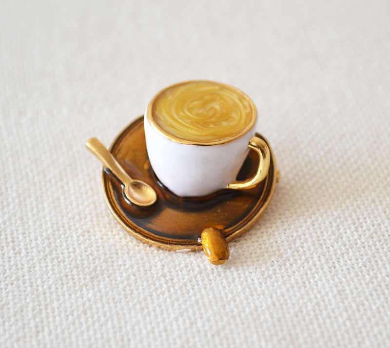 free shipping 6 pcs/ lot fashion jewelry accessories metal enamel coffee brooches for women