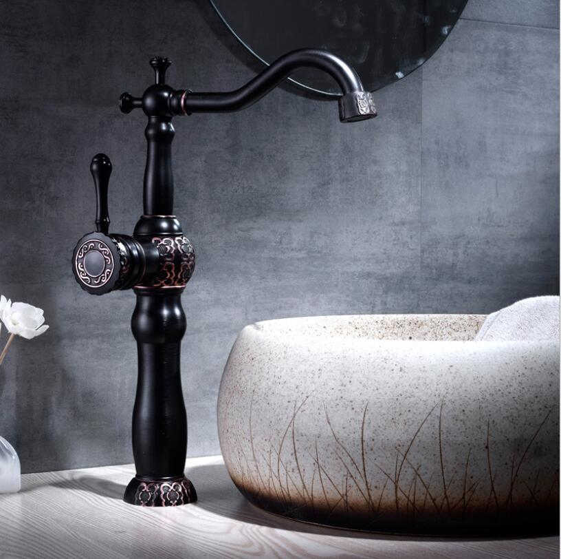 Basin Faucets Black Oil Brushed Bathroom Faucet Basin Carved Tap Rotate Single Handle Hot and Cold Water Mixer Taps Crane