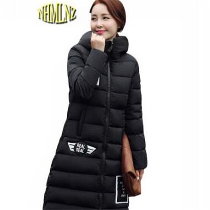 Women Winter Jacket New Style big size Slim Coat Warm Thick Cotton Down jacket Medium long Long sleeve Hooded Coat Parka G2844