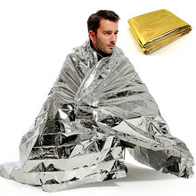 Camping Portable Emergency Blanket First Aid Survival Rescue Curtain Tent Tools Outdoor Hiking Kits Silver Golden