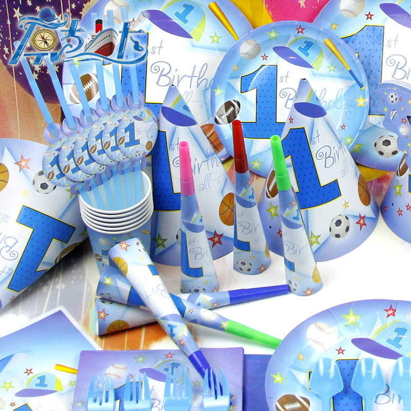 Free Shipping 84pcs Set Paper Party Sport Favors To Celebration 1st Boy Birthday Gift
