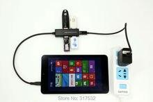4 puertos usb hub cargador con cable de alimentación y adaptador otg para tablet thinkpad 8, x98, x89 x80, wt-8, miix2, v8p, w4-820, v975i, vi8