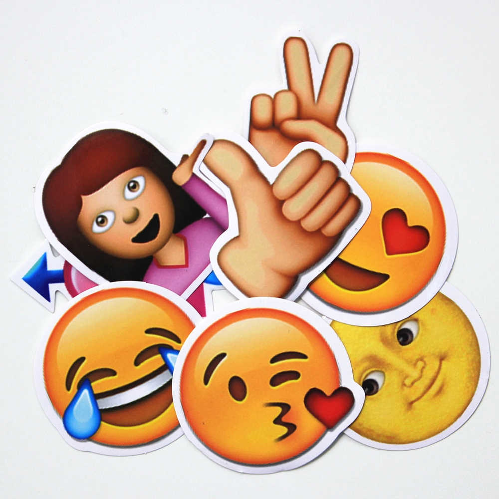 8pieces big emoji stickers large face hot funny sticker for notebook, message 5 sheets cut sticker 48 emoji smile face stickers for notebook laptop message twitter large viny instagram