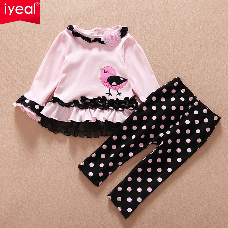 IYEAL Fashion Long Sleeve Outfit Dot Pattern Baby Girl Lace clothing set Lovely Newborn Next Baby Clothes Infant sets mother nest 3sets lot wholesale autumn toddle girl long sleeve baby clothing one piece boys baby pajamas infant clothes rompers