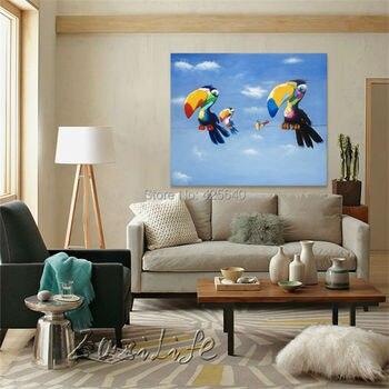 Pop art Birds on canvas modern abstract oil painting handmade oil painting  Animal Pop Art Home Decor Living Room