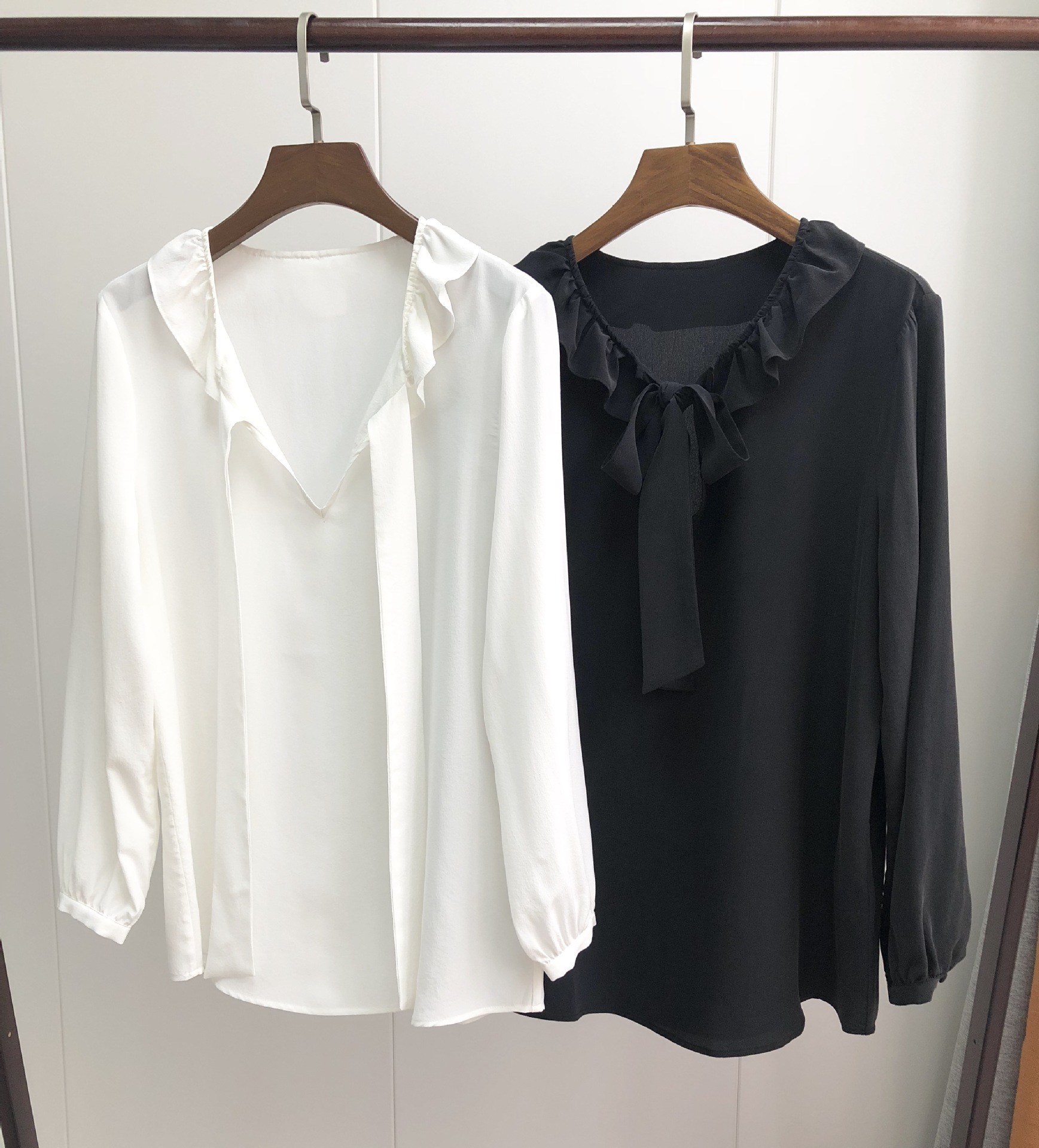 19 early spring style Ruffled neck100 silk shirt bow tie small women long sleeve shirts women