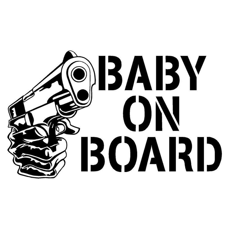 14.2*8.5CM BABY ON BOARD With Gun Car Styling Safety Sign Stickers Individual Car Body Decal Black/Silver C9-0001