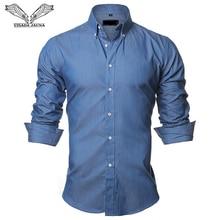 VISADA JAUNA Mens shirts European Size 2018 Summer Casual Camicia Uomo Slim Fit Long sleeve Cotton Male Denim Shirt Button Up