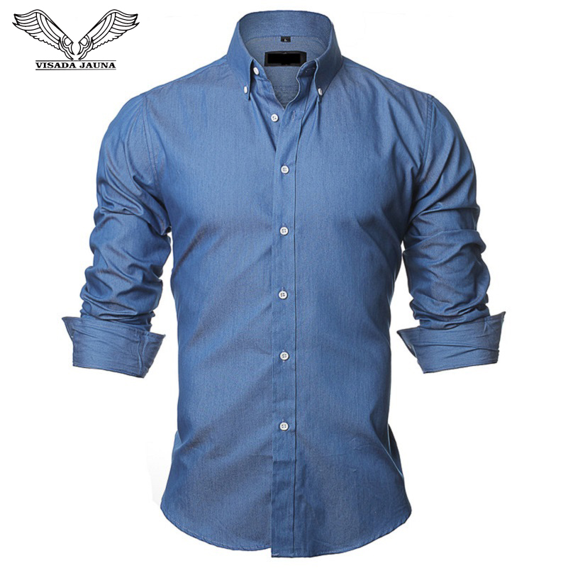 VISADA JAUNA Men's Shirts European Size S-XXL 2018 Summer Casual Camicia Uomo Slim Fit Long Sleeve Cotton Male Denim Shirt N1091