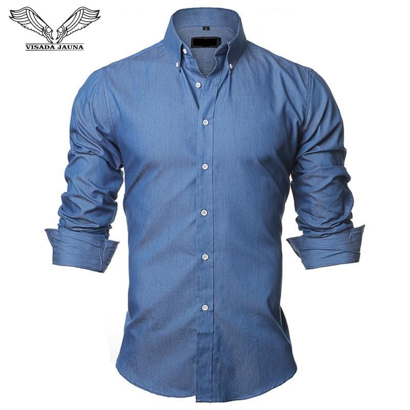 VISADA JAUNA Чоловічі сорочки Європейський Розмір S-XXL 2018 Літній Випадковий Camicia Uomo Slim Fit Довгий рукав Бавовняна чоловіча джинсова сорочка N1091
