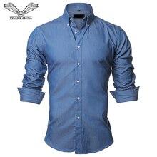 Мужская джинсовая рубашка VISADA JAUNA, хлопковая приталенная Повседневная рубашка на пуговицах, с длинным рукавом, европейский размер, на лето, 2018