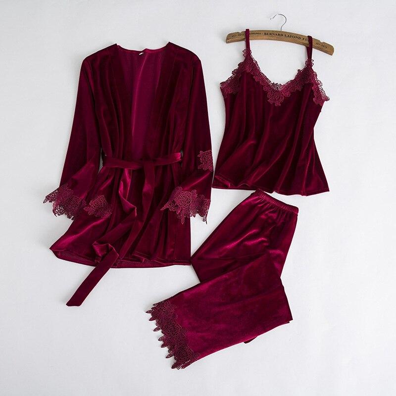 Floral Garniture De Nuit D'hiver Pyjama Pyjama Nouvelles Femmes de Velours Chaud 3 pcs Nuit Automne Épais Home Wear Lingerie Costume m-XL