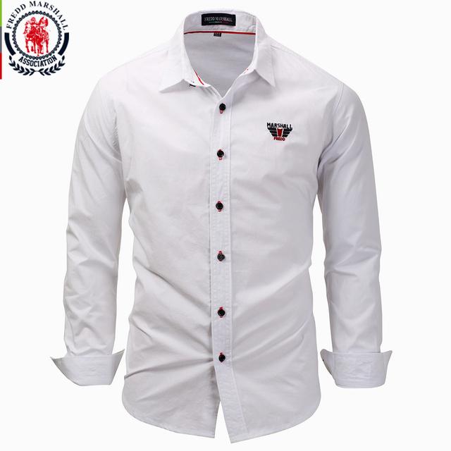 Fredd Marshall 2017 New Fashion Men's Long Sleeve Solid Color Embroidery Shirts Men Slim Fit Shirt Business Dress Shirts 3XL 118