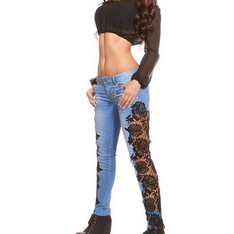 New Womens Skinny Lace Crochet Stretch Denim Slim Trousers Leggings Jeans Pants American Sexy Lace Transparet Female Jeans Pants new sexy women slim embroidered lace stretch leggings pencil pants skinny jeans female fashion capris trousers black small size