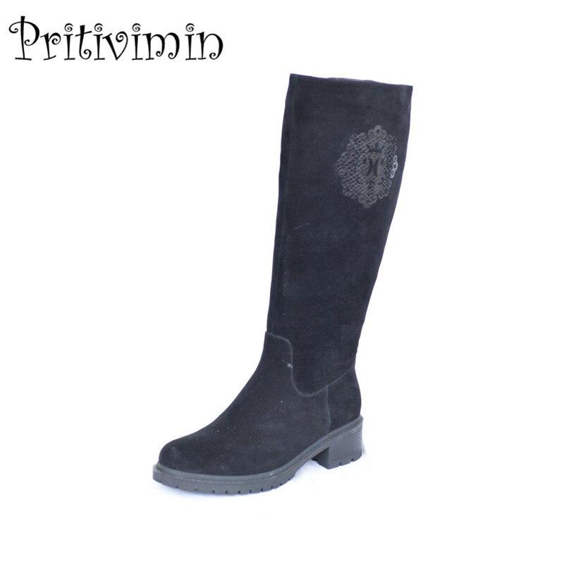 2018 Dames en cuir suédé bottes femmes hiver femmes bota chaussures à la main filles chaud réel de fourrure genou haute bottes Pritivimin FN30