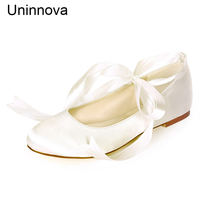 Women Bridal Flats Satin Ribbon Shoes Bridesmaids Ivory