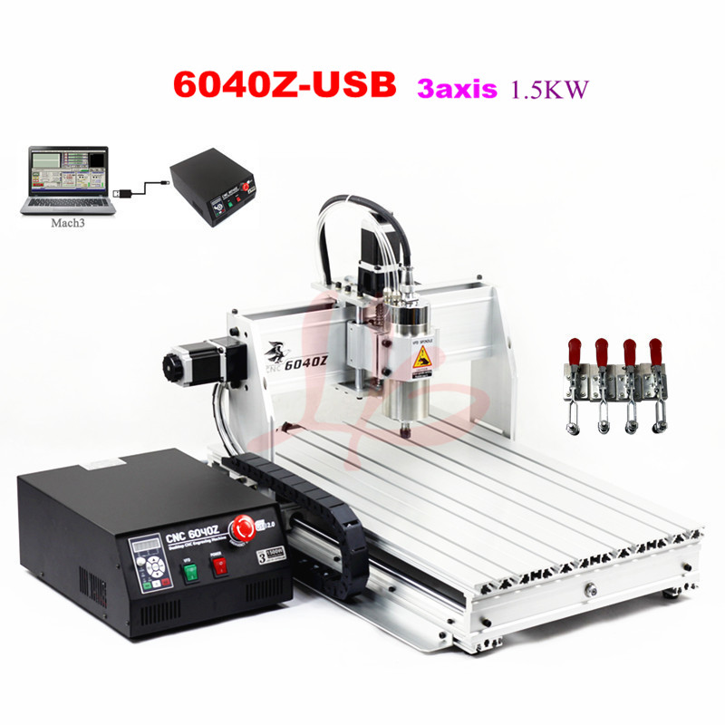 CNC Router 6040Z-USB 3axis 1.5kw CNC engraving machine Wood lathe cutting machine cnc 5axis a aixs rotary axis t chuck type for cnc router cnc milling machine best quality