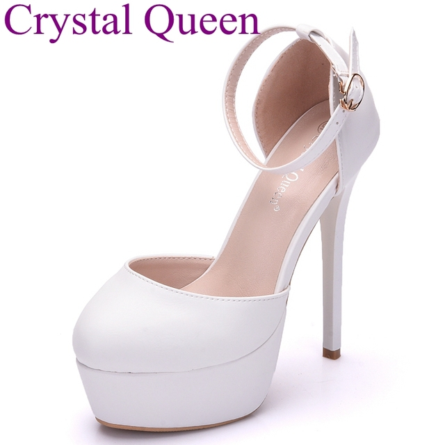 Crystal Queen thin heels platform shoes round toe platform high heels  wedding party high heel sandals 14cm heel shoes women 084edbd909ce