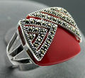 14*15mm Square Red Coral Marcasite 925 Sterling Silver Ring Size 7/8/9/10