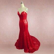 Echt Meerjungfrau Schatz Red Pailletten Abendkleider 2016 Maid of Honor vestido de festa Lang Plus Size Prom Kleider Vedio BSE15