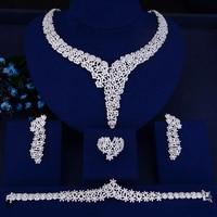 missvikki Elegant Crystal Rhinestones Large Choker Necklace Earrings Bracelet Ring Set Women Bridal Wedding Party Jewelry Sets