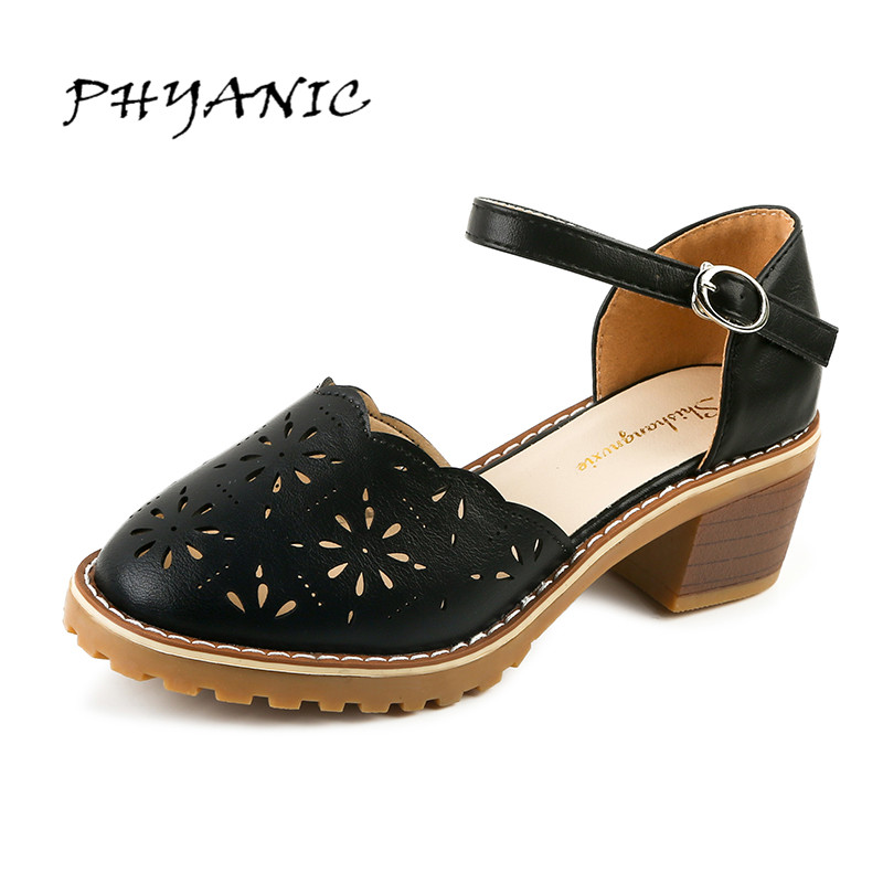 PHYANIC Women Sandals Thick Bottom Med Heel Summer Girl's Shoes Buckle Fashion Cut outs Shoes Woman Big Size 40 PHY3404 phyanic 2017 summer new women sandals with chain women buckle strap flat platform summer casual shoes woman phy3413