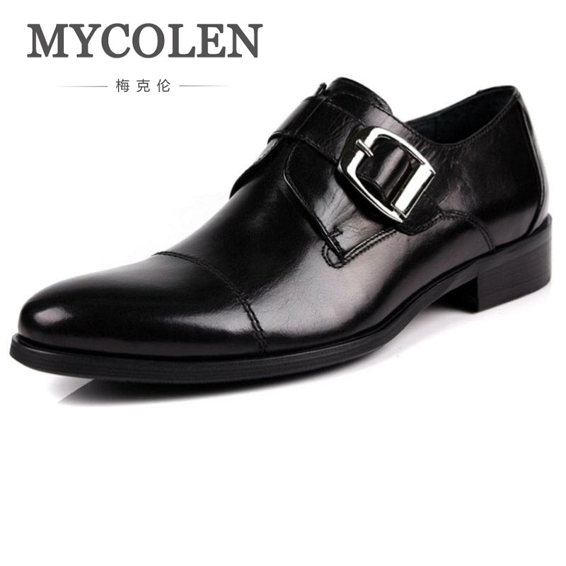 MYCOLEN Mens Bullock Genuine Wine Red Leather Breathable Shoes Buckle Black Men Party Wedding Shoe Business Leather Shoes mycolen mens casual genuine leather flats loafers for men comfortable business wine red black crocodile print man leather shoes