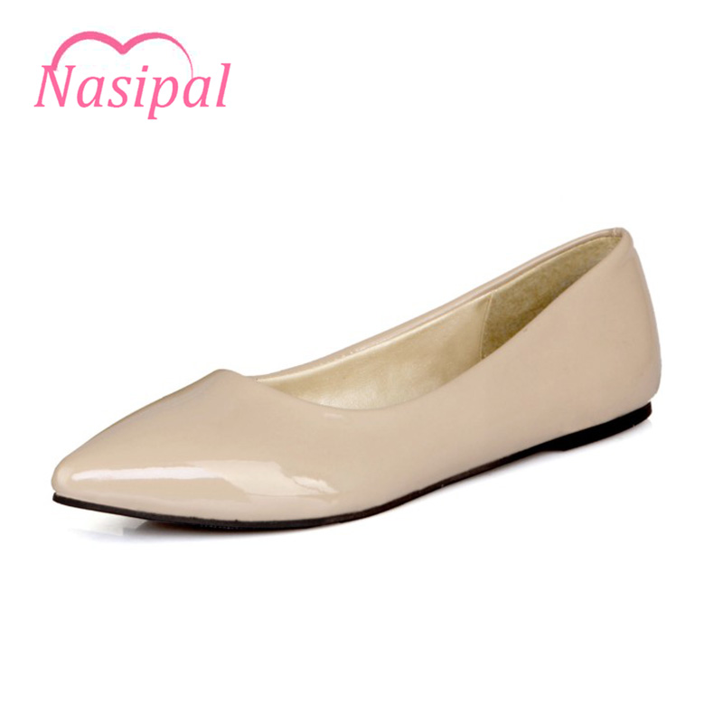 Nasipal Spring Summer NEW fashion Flats Patent Leather 6 Color women's flat shoes woman Shoes casual female shoes Size30-49 C072 plue size 34 49 spring summer high quality flats women shoes patent leather girls pointed toe fashion casual shoes woman flats