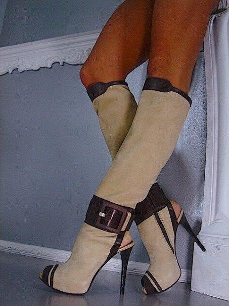 forme Arrivée Nouvelle Sexy Retour Picture Peau De 43 Toe As Bottes Hautes Découpe Grande Stiletto Patchwork Boucle Femmes Taille Plate Talon En Mouton Peep Genou Trrxdq