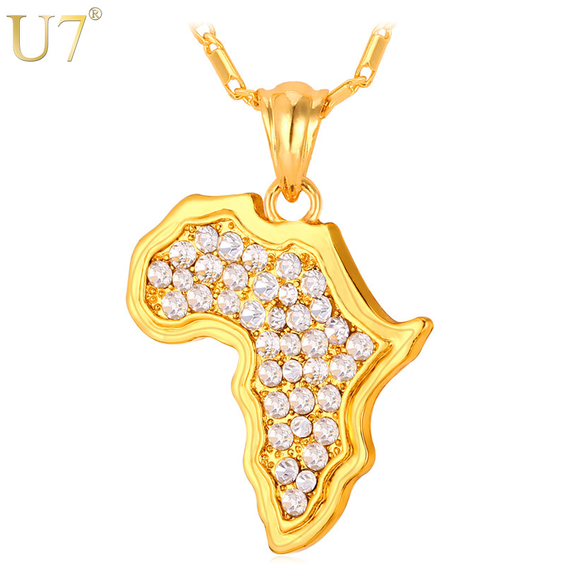 U7 Africa Map Necklace Rhinestone Crystal Gold/Silver Color Pendant & Chain For Men/Women Gift African Jewelry Fashion P369 chic rhinestone african plate shape pendant necklace and earrings for women