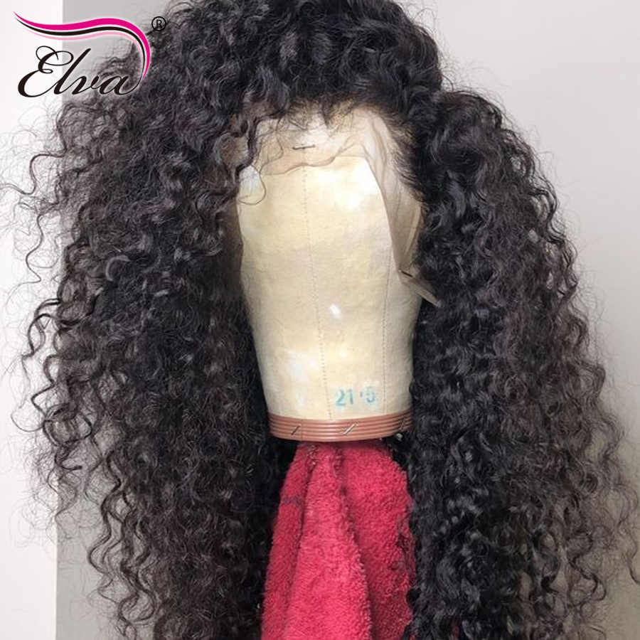 360 кружевных фронтальных париков для черный Для женщин Glueless Синтетические волосы на кружеве человеческих волос парики Полный конец предварительно сорвал с волосы младенца Elva парик из натуральных волос