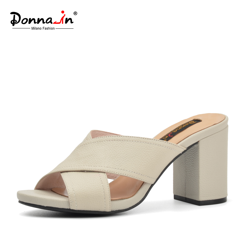 Donna-in 2017 classic genuine leather women sandals platform high heels ladies shoes thick heel outdoor slippers fashion styles