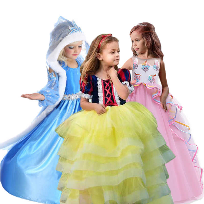 Elsa Vestidos Para A Menina Vestido de Unicórnio para Crianças Traje de Halloween Do Partido Dos Miúdos Vestidos Para Meninas Cinderela Branca de Neve Princesa Vestido