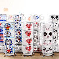 2018 NEW Stacking Cup With Iron Frame Milk Glass Cartoon Navy Panda Tower Cat Drinbking Coffee Mug Valentine's Day Girl Gifts