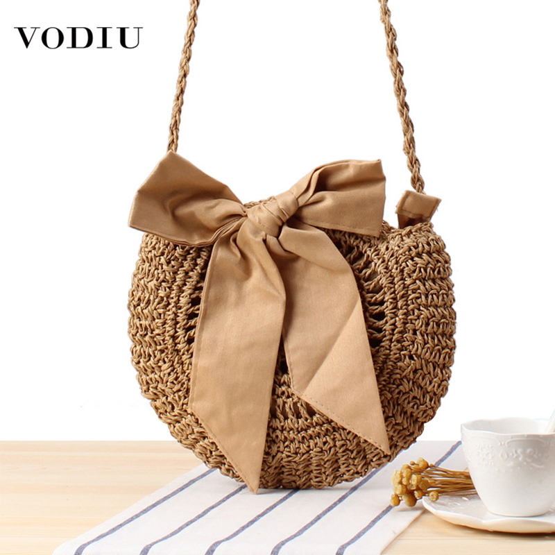 Beach Straw Bag Women Hangbags Small Hot Sale Woven Round Handbags Simple Round Messenger Bags Top-handle Female Shoulder Bags