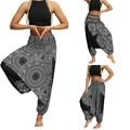 Женские брюки, повседневные свободные штаны для йоги, мешковатые винтажные широкие брюки в стиле бохо, Аладдин, уличная одежда Modis, спортивн...