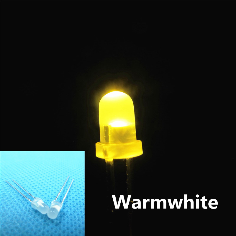 5mm Warm White Diffused Bright Round LED Leds Light with Long Pins New 1000pcs