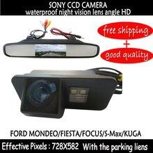 4.3 Pulgadas de Coches Vista Rea coche espejo monitor con sony ccd Cámara de Marcha Atrás Del Coche para 2012 FORD MONDEO/FIESTA/FOCUS HATCHBACK/S-max/KUGA