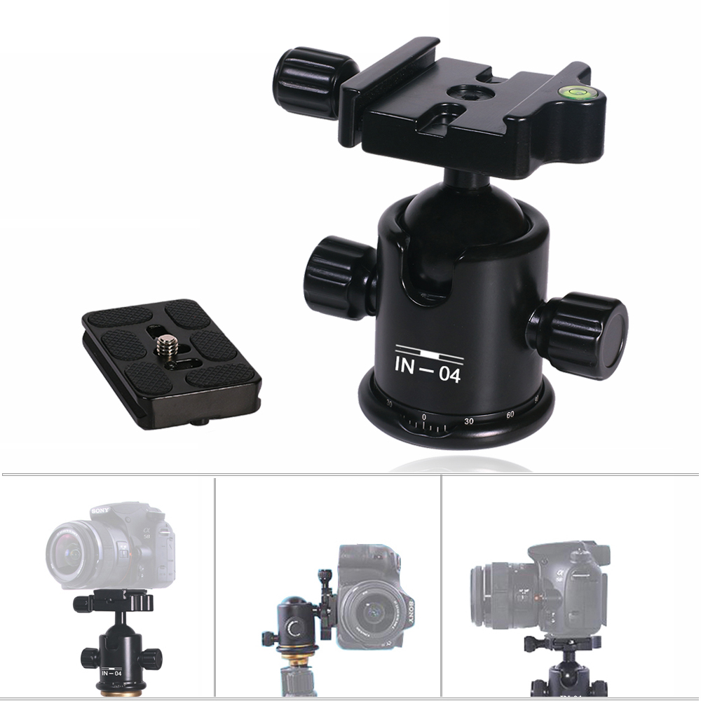 INSEESI IN-04 Aluminum Camera Tripod Ball Head with Quick Release Plate 1/4
