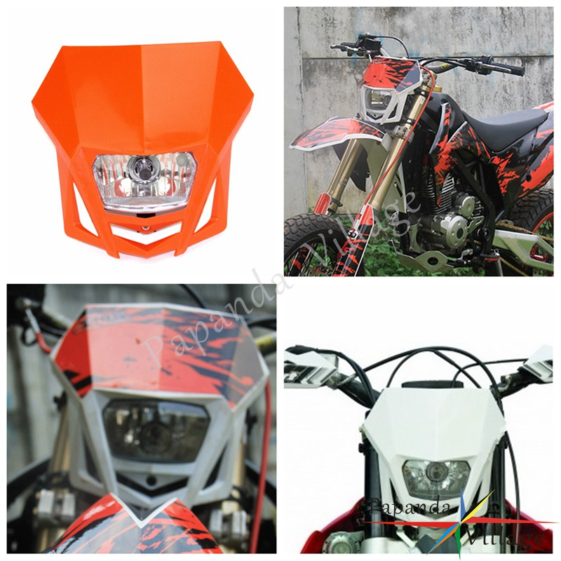 Papanda Orange Dual Sport Off-road Motorcycle Headlights Universal Head Lamp Enduro for KTM EXC EXCF XCF XCW SX SXF SMR