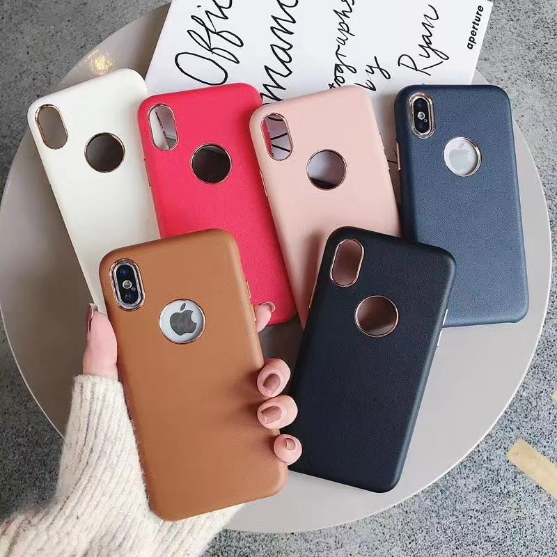 Luxury Leather Phone Cases For IPhone 7 8 Plus 6 6s X XS MAX XR Cove Have LOGO Hole Retro Hard Business Coque White/black/pink