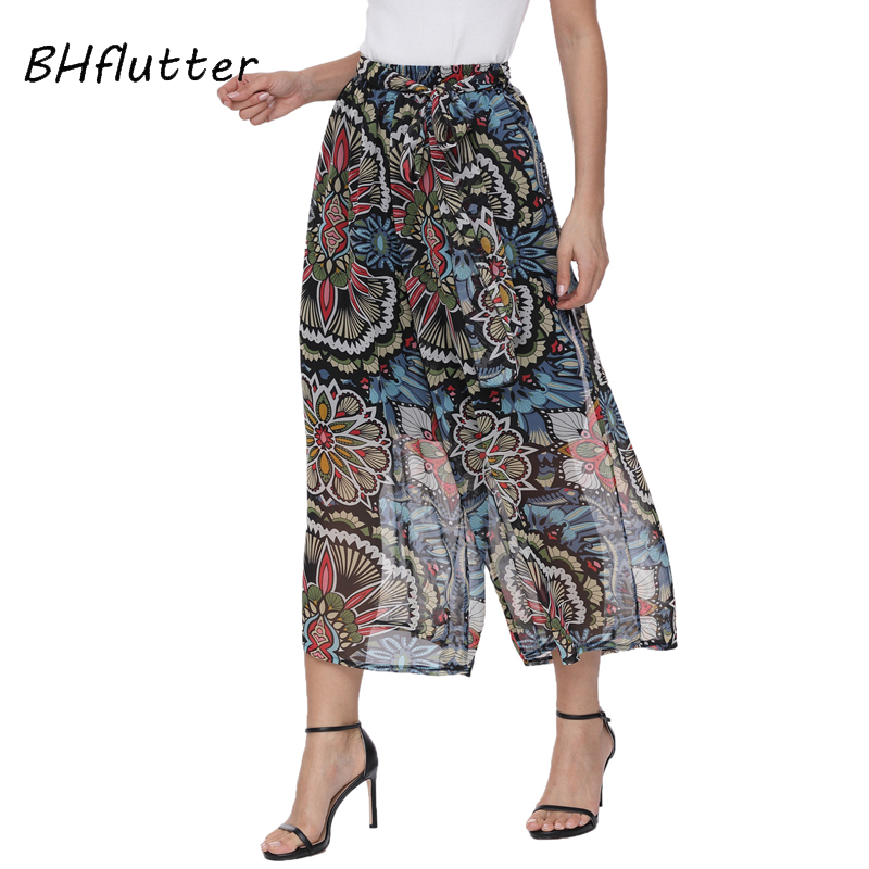 BHflutter 2018 New Arrival Summer Pants Women Elastic Waist Casual Loose Wide Leg Pants Floral Print Black Chiffon Pants Capris