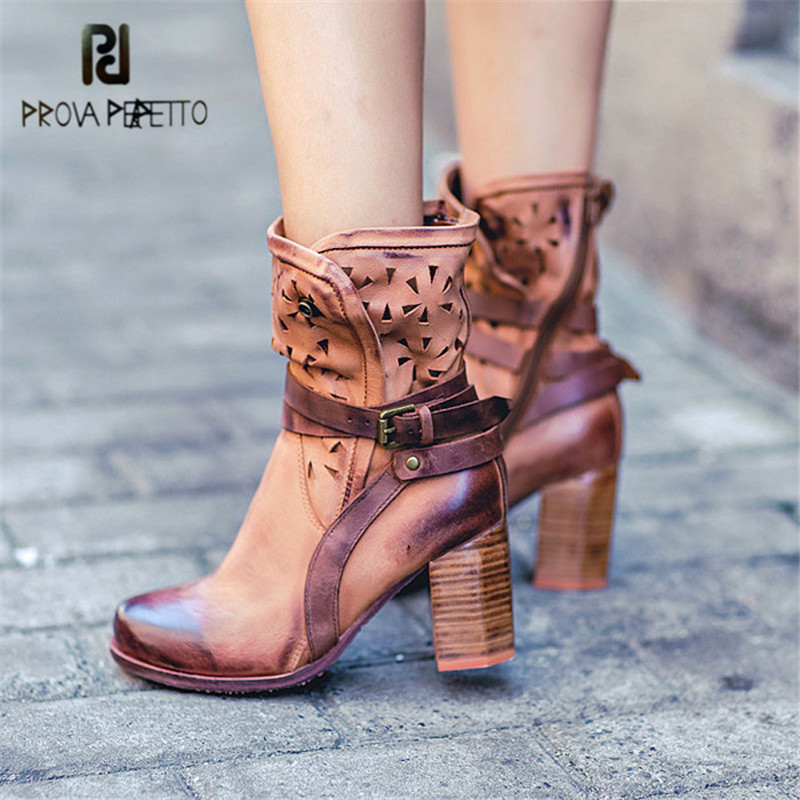 Prova Perfetto Hollow Out Women Ankle Boots Sexy Chunky High Heel Boots Genuine Leather Straps Platform Botas Mujer Women Pumps prova perfetto hollow out ladies gladiator sandals women platform pumps rivets chunky high heel shoes woman sandalias mujer