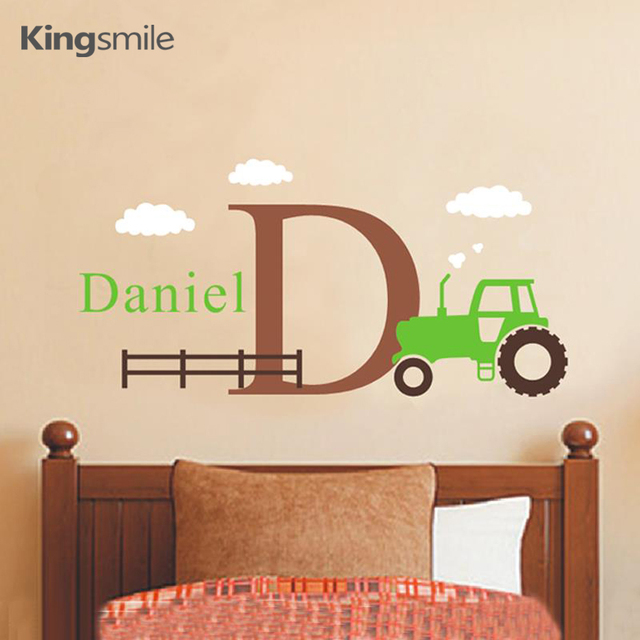 Cartoon Tractor Wall Decals Personalized Name Initial Removable Nursery Art Stickers For Kids Room Home Decor