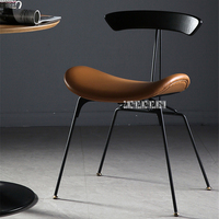 Industrial Style Dining Chair Iron Leg Leisure Ant Chair Vintage Easy Chair Simple Negotiation Chair Leather Casual Chair