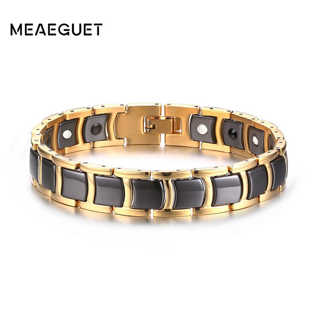 Meaeguet Men Black Ceramic Magnetic Magnet Therapy Bracelets Germanium Biomagnetic Health Cuff Pulseiras Jewelry